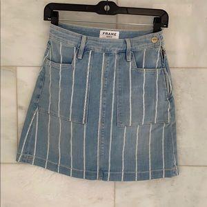 FRAME Denim Striped Mini Skirt